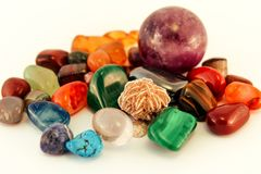 Semi precious stones / Crystal Stone Types / healing stones, worry stones, palm stones, ponder stones. Semi precious stones / Crystal Stone Types / healing royalty free stock photography
