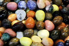Semi-precious stones at the flea market. Stock Photo