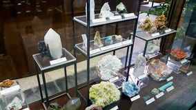 Semi precious stones in a museum. SOFIA,BULGARIA - 10.08.16 : semi precious gemma stones in the Earth and Man National Museum Royalty Free Stock Photos