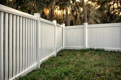 Semi Privacy Vinyl Fence. 4 feet White Semi Privacy Vinyl Fence around your house stock photo