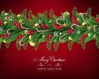 Semi realistic Christmas garland royalty free illustration