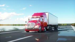 Semi remolque, camión en el camino, carretera Transportes, concepto de la logística animación realista 4K stock de ilustración