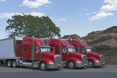 Semi samen Geparkeerde Vrachtwagens Royalty-vrije Stock Afbeelding