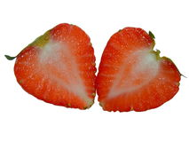 Semi strawberry, fresh fruit. Half strawberry with heart shape and white backgroud Royalty Free Stock Photos