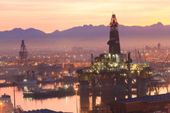 Semi Submersible drilling rig. In the middle of the shipyard in town Stock Photography
