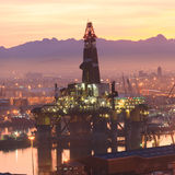 Semi Submersible drilling rig Stock Images