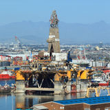 Semi Submersible drilling rig parked in the middle of the shipyard Royalty Free Stock Images
