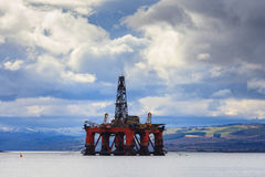Semi Submersible Oil Rig at Cromarty Firth in Invergordon Stock Photos