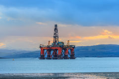 Semi Submersible Oil Rig at Cromarty Firth during Sunset Time Royalty Free Stock Image