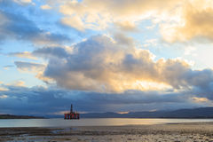 Semi Submersible Oil Rig at Cromarty Firth during Sunset Time in Royalty Free Stock Photos