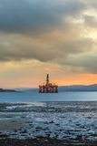 Semi Submersible Oil Rig at Cromarty Firth during Sunset Time Royalty Free Stock Photos