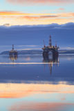 Semi Submersible Oil Rig during Sunrise at Cromarty Firth Stock Images