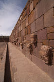 Semi-subterranean Temple in Tiwanaku. Royalty Free Stock Photos