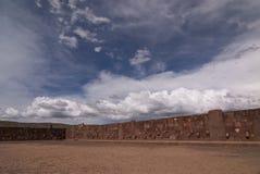 Semi-subterranean Temple in Tiwanaku. Stock Images