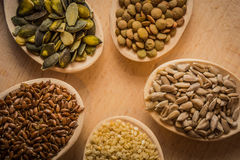 Semi sui cucchiai di legno che stanno trovando al tagliere - i semi del sesamo, del seme di lino, della zucca e di girasole, lent Fotografie Stock