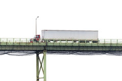 Semi Tractor Trailer Crossing Bridge Isolated on White Royalty Free Stock Photos