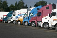 Semi tractors. Semit tractors at truck stop Royalty Free Stock Image