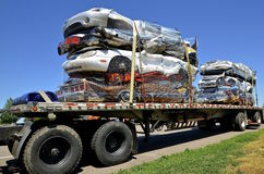 Semi trailed loaded with crushed cars. Royalty Free Stock Image