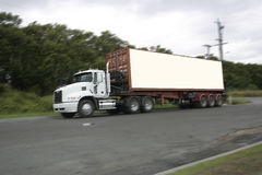 Semi trailer. Road semi trailer with spare advertising space Royalty Free Stock Photo