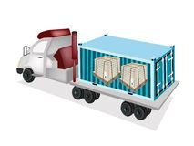 A Semi-Trailer Loading Wooden Crates in Cargo Cont Royalty Free Stock Images