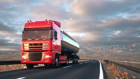Semi-trailer tank truck driving along a desert road. Front-view camera follows a tank truck driving on a highway into the sunset. Realistic high quality 3d stock video