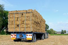 Semi trailer for transporting haystack Royalty Free Stock Image