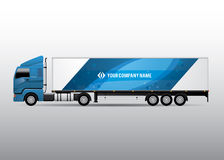 Semi-trailer Truck - Advertisement and Corporate Identity Design. Advertisement or corporate identity design template on semi-trailer truck. For business Stock Images