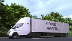 Semi-trailer truck delivering COVID-19 coronavirus disease vaccine, loopable 3D animation