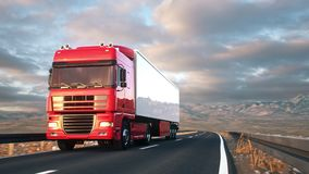 Semi-trailer truck driving along a desert road. Front-view camera follows a semi truck driving on a highway into the sunset. Realistic high quality 3d animation stock video footage