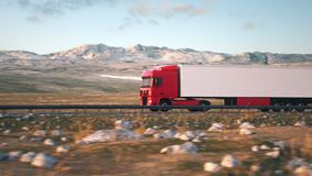 Semi-trailer truck driving along a desert road. Side-view camera follows a semi truck driving on a highway into the sunset. Realistic high quality 3d animation stock video footage