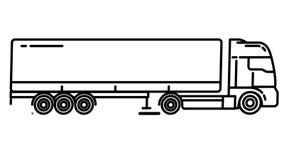Semi-Trailer Truck line icon on the Alpha Channel