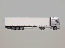 Semi-trailer truck. A modern semi-trailer truck on gray background stock illustration