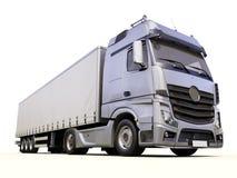 Semi-trailer truck. A modern semi-trailer truck on light background Royalty Free Stock Photo