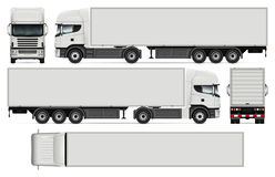 Semi-trailer truck vector illustration. Semi-trailer truck vector mock-up for car branding and advertising. Cargo vehicle set on white. All layers and groups vector illustration