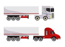 Semi trailer truck vector vehicle transport delivery cargo shipping illustration transporting set of trucking freight. Lorry semi-truck transportation isolated vector illustration