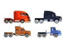 Semi trailer truck vector vehicle transport delivery cargo shipping illustration transporting set of trucking freight. Lorry semi-truck transportation isolated royalty free illustration