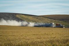 Semi trailer truck, wheat fields. Semi trailer truck hauling grain through wheat fields Stock Photography