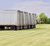 Semi Trailers Waiting. A line of semi trailers waits to be loaded Royalty Free Stock Photography