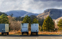 Semi-Trailers Waiting Thier Turn to Load Royalty Free Stock Photo
