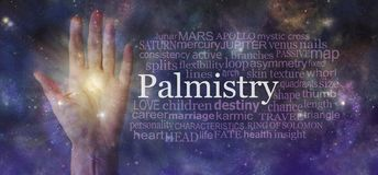 Mystical Palm Reading Word Tag Cloud Background. Semi-transparent female open palm beside a PALMISTRY word cloud against an ethereal cosmic dark deep space sky royalty free stock image