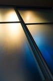 Semi-transparent ruit van het steenglas met gekleurde lichten Stock Afbeelding