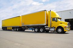 Semi Truck. Large B double semi truck parked with box container for load