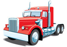 Semi truck. Vector red semi truck on white background, without gradients