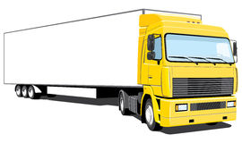 Semi truck. Vector yellow semi truck on white background, without gradients