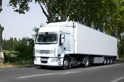 Semi truck. White semi truck on french road Royalty Free Stock Images