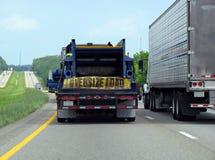 Semi truck. Semi trailer truck oversize load on highway Royalty Free Stock Image