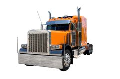 Semi Truck. An orange 18 wheel semi truck  isolated on white. Look for more trucks in my gallery Stock Image