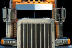 Semi Truck. Intimidating view of the very macho looking front end of a large powerful semi truck Stock Photos