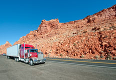 Semi truck. Driving on an Arizona highway Stock Photos