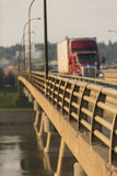 Semi Truck on Bridge Royalty Free Stock Photography